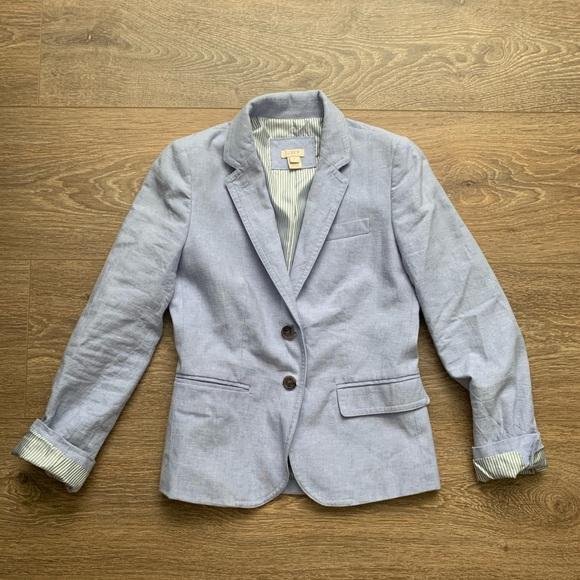 J CREW blue linen blazer